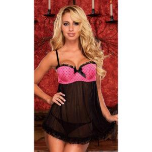 BADY DOLL nero rosa Hustler lingerie - sexy shop La Passione Verona